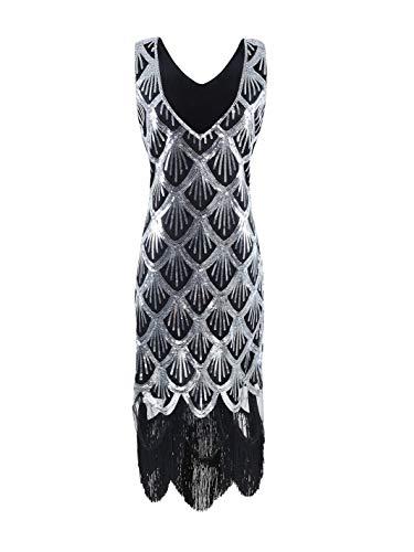 WNLZL Frauen 1920er Jahre Gatsby Vintage Pailletten Kleider ärmelloses Abendkleid Vintage gesäumt für Party Prom inspiriert Cocktail Flapper Kleid,XXXL