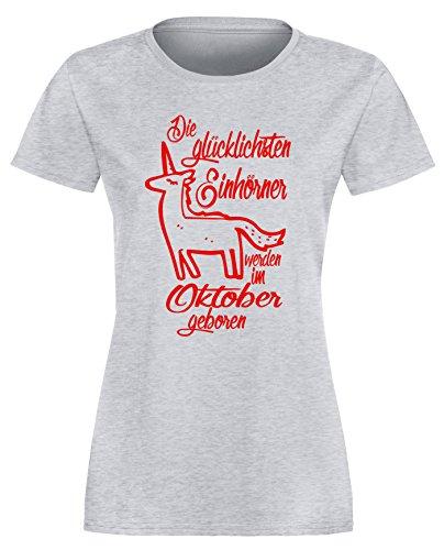 Die Glücklichsten Einhörner werden im Oktober geboren! Perfektes Geschenk zum Geburtstag - Damen Rundhals T-Shirt Grau/Rot
