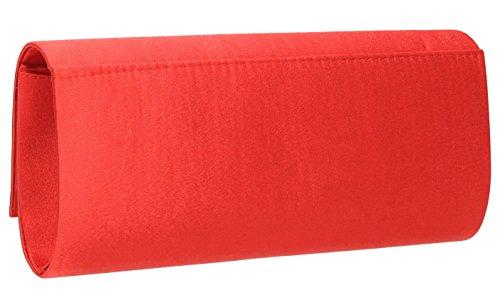 Miranda pochette de soirée en satin brillant avec rabat rouge