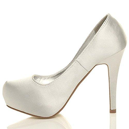 Femmes talon haut chaussures plateforme mariage strass eleganté escarpins Argent
