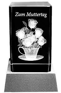 Kaltner Präsente Lampada per illuminazione d' atmosfera-particolare idea regalo: candela LED/blocco in vetro cristallo/incisione 3d al laser fiori per la festa della mamma