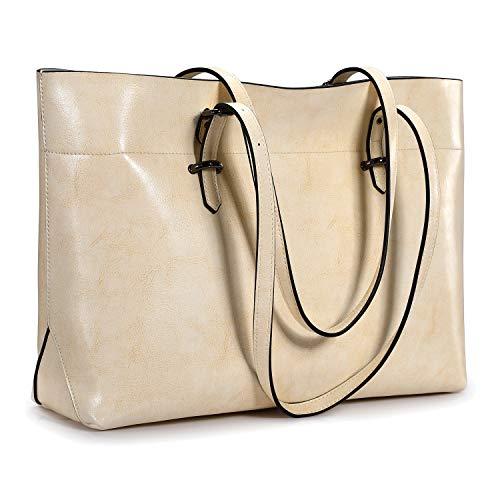 S-ZONE Vintage Genuine Crazy Horse Leather Tote Shoulder Bag Purse with Back Zipper Pocket
