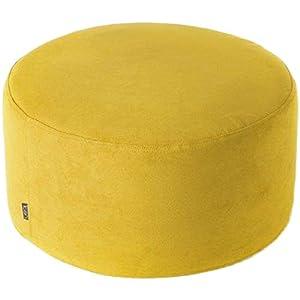 YUMUO Runde Tuch Ottoman,extra Groß Fußhocker Moderngestaltet Hocker Beistelltisch Hocker Stuhl Vielseitig Für Zuhause Garten Wohnzimmer Gelb 60cm