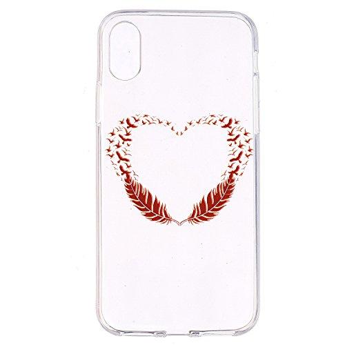 inShang iPhone X 5.8inch custodia cover del cellulare, Anti Slip, ultra sottile e leggero, custodia morbido realizzata in materiale del TPU, frosted shell , conveniente cell phone case per iPhone X 5. Red feathers