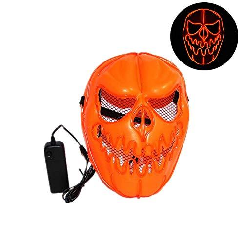 ke Kürbis Ghost Cosplay Maske Licht LED Glow Scary EL Draht bis Masken Halloween El Halloween Mask ()
