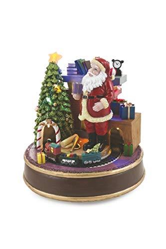 Galileo Casa 2424127 Weihnachtsdorf mit Musik und Lichtern und Trenino, D20 cm, Polyresin, Mehrfarbig