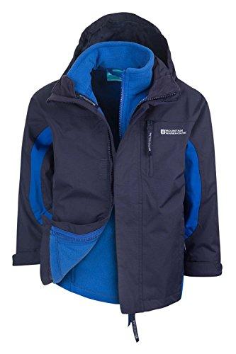 Mountain Warehouse Wasserfeste Cannonball Kinder-3-in-1-Jacke - atmungsaktive Dreiklima-Jacke mit versiegelten Nähten und Abnehmbarer Kapuze und gefüttertem Kragen Marineblau 140 (9-10 Jahre) (Kapuzen-jacke 1)