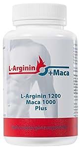 L-ARGININ 1200 mg plus MACA 1000 mg, 120 Kapseln, mit Avena Sativa, Angelica sinensis, Vitaminen, Aminosäuren, Zink