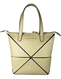 a53f351069 Cross Women s Genuine Leather Origami Small Collapsible Hand Bag (Beige)