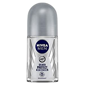 NIVEA MEN Deodorant Roll On, Silver Protect, 50ml