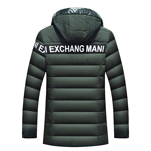 Brinny hommes doudoune hiver veste matelassée Blouson avec capuche Veston épaissi Parka Loisir Vert