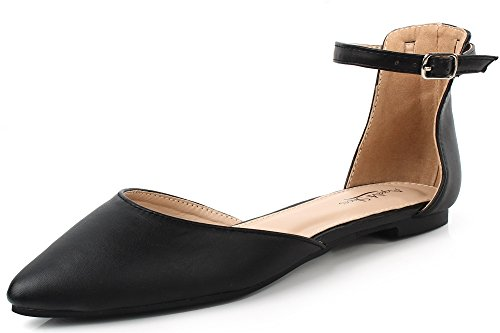 AgeeMi Shoes Femmes Ballerines Plat Boucle Bout Pointu Cheville-Sangle Escarpins