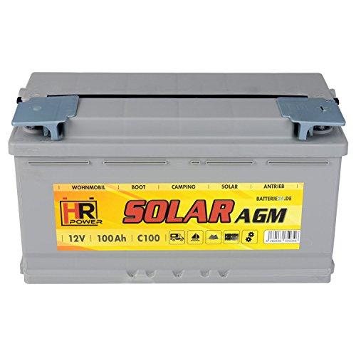 HR Solar AGM | 12V 100Ah Versorungsbatterie als Wohnmobilbatterie Bootsbatterie Solarbatterie Wohnwagenbatterie VRLA Vliesbatterie