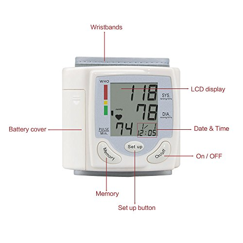 Wrist Blood burden Monitor Fully Automatically gauge by using Digital LCD screen present for Blood burden and Heart Beat Sports Outdoors