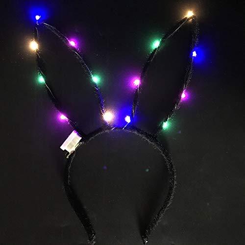 Bunny LED-Ohr-Stirnband, Osterhase blinkend, leuchtende Haarreifen, Zubehör für Partys, Bälle, Kostüm, Kleid, Zubehör, schwarz