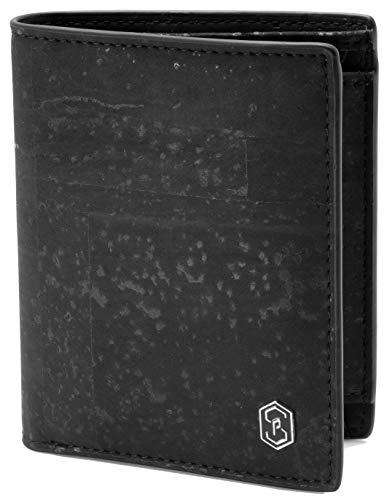 SLIMPURO ® Geldbörse Männer Lisbon - 10 Karten - TÜV geprüft - RFID Schutz - Nachhaltiges Korkleder- inklusive Geschenk Box - Designed in Germany (Schwarz) -