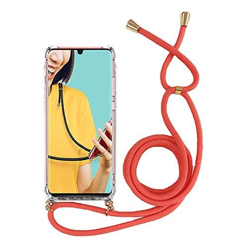 Miagon für iPhone 11 (6.1 Zoll) Halskette Hülle,Klar Silikon Handy Schutzhülle Kordel zum Umhängen Necklace Crossbody Cover mit Band Schnur,Rot