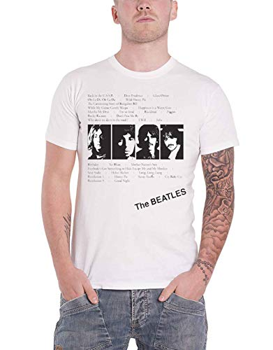 The Beatles T Shirt Weiß Album Tracks Nue offiziell Herren