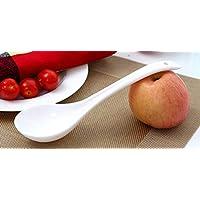TOUYOUIOPNG Cucharas de Postre, Swan Long Handle Plastic Soup Spoon Cocina Vajilla (Blanco, Cucharón)