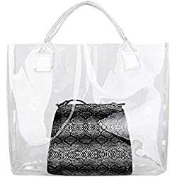 cuir Casual sac de plage sac seau femmes mode transparent serpent modèle sac à main