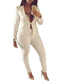 SOMTHRON Women's Sexy Slim Elegant Plain V Neck Long Sleeve Blazer White Suit Stylish Long Sleeve White Lapel Neck Jack and Pants Sets 2 Piece OL Outfits Suits
