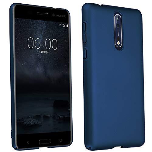 Cadorabo Hülle für Nokia 8 2017 - Hülle in Metall BLAU – Hardcase Handyhülle im Matt Metal Design - Schutzhülle Bumper Back Case Cover