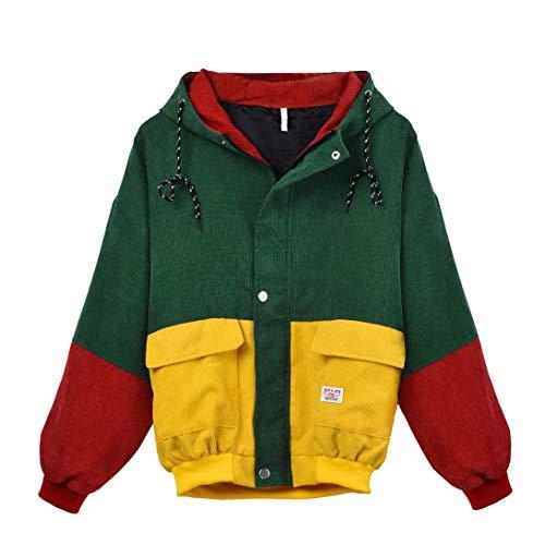 Coats Damen, Kimodo Neu Frauen Langarm Cord Patchwork Oversize Jacke Windbreaker Mantel (Gelb, M)