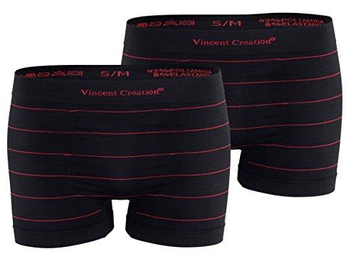 2 pezzi Boxer da uomo in microfibra-colore nero a strisce-seamless microfibra rosso/rosso