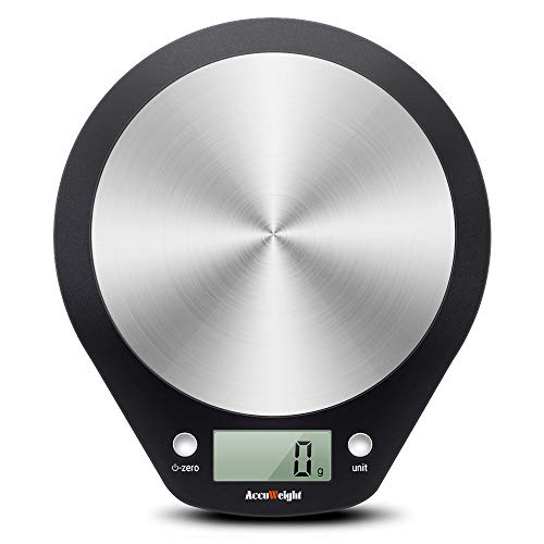 ACCUWEIGHT Bilancia da Cucina Digitale, Alta Precisione da 1g a 5 kg, Bilancia Elettronica e Multifunzione con Display LCD, Acciaio Inossidabile e ABS (2 Batterie Incluse)