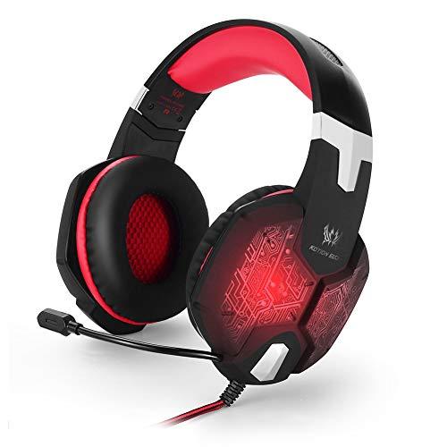 Gaming Headset PS4, Gaming-Headset mit 3,5-mm-Schnittstelle und HD-Bass-Surround, ausgestattet mit LED-Leuchten für das PS4 PC Xbox One-Tablet (5 Modelle),03Red