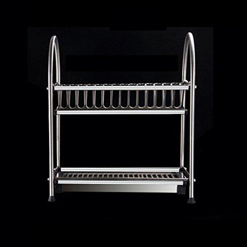 BOBE SHOP- Étagère multifonctionnelle de cuisine - étagère de vaisselle d'acier inoxydable de doubles couches/étagère de drain/support de vaisselle (taille : 40cm*28cm*32cm)