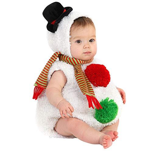 SUMTTER Weihnachten Baby Strampler Xmas Schneemann Kostüm für Neugeborenes Jungen Mädchen Strampler + Schal Kleidung Set (Mario Schimmel)