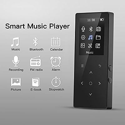 Lecteur Mp3 Bluetooth 4.0 Baladeur Sport 8Go Musical Radio FM de Bouton Tactile avec Rétro-éclairage, Stéréo Excellent 1,8'' TFT Ecran en Couleur, Supporte Carte SD jusqu'à 128Go- Noir de Hommie EU