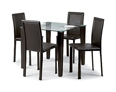 Julian Bowen Quattro Glass Top Dining Table, Dark Brown - inexpensive UK dining table shop.
