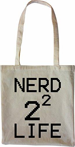 Mister Merchandise Tote Bag Nerd 4 Life for 2^2 Borsa Bagaglio , Colore: Nero Naturale