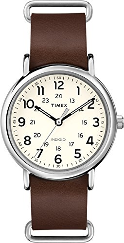 Timex - Unisex - T2P495 - Originals Weekender - Quartz Analogique - Cadran Blanc - Blanc - Marron - Cuir