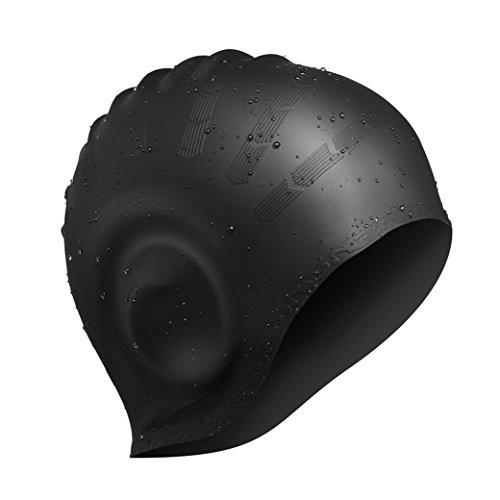 ESDRoyal - Badekappe für Herren und Damen, aus Silikon - für langes, fülliges oder kurzes Haar - mit ergonomischen Ohrentaschen zum Schutz der Ohren - aus reißfestem Silikon