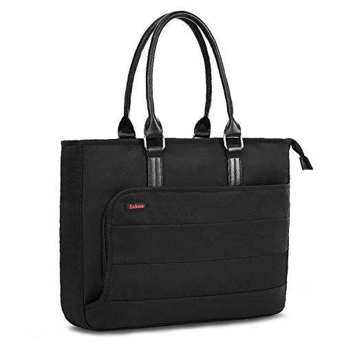 LOKASS Damen Laptoptasche Notebooktasche Laptop Schultertasche Business Aktentasche Tote Bag für Frauen, Wasserdichte Nylon Umhängetasche Handtasche für 15,6 Zoll Laptop/MacBook (Schwarz)