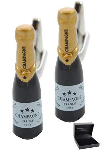 COLLAR AND CUFFS LONDON - Hochwertige Manschettenknöpfe mit Geschenk Box - Champagner Flasche - Stilvolle Messing - Schwarz-und Goldfarben - Feier Besondere Gelegenheit