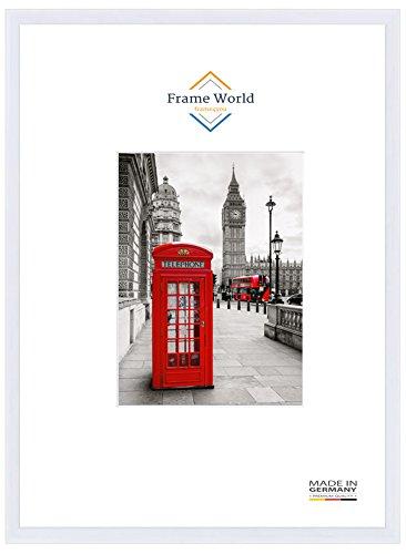 Frame World FW23 Echtholz Bilderrahmen für 48 cm x 36 cm Bilder, Farbe: Weiss-Matt, mit entspiegeltem Acrylglas (Antireflex) und HDF-Holz Rückwand, Rahmen Breite: 23mm, Aussenmaß: 51,4 cm x 39,4 cm (Weiß Album Rahmen)