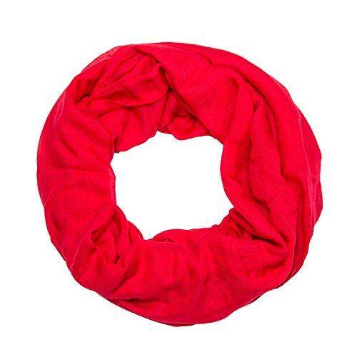 ManuMar Loop-Schal einfarbig | Hals-Tuch in Uni-Farben | einfarbig Rot als perfektes Sommer-Accessoire | klassischer Damen-Schal - Das ideale Geschenk für Frauen