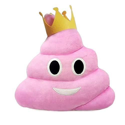 XNFIVE Emoji Kissen Kackhaufen Poop Lächelnde Emoticon Plüschkissen Weiche Gefüllte Plüsch Spielzeug, 35 x 35cm, Nettes lustiges Geschenk für Kinder, Jungen, Mädchen (Rosa Königin Kronenstil)
