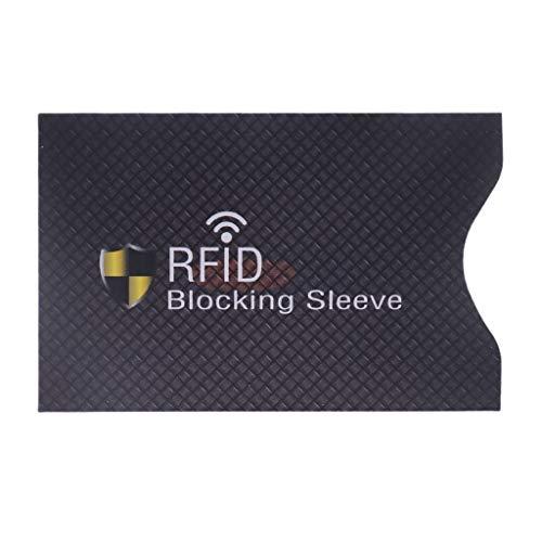 Viesky 1PC Anti Vol pour RFID Carte De Crédit Protecteur Blocage Étui en Cuir De Manches (Noir)