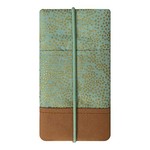 Kuratist Handytasche - Handgemacht Baumwolle mit Designerdruck und Kantenschutz aus Papier in Leder-Optik (Vegan-Friendly) (iPhone SE / 4 / 4S / 5 / 5S; Galaxy S3 Mini / S4 Mini, Champagne Mint)