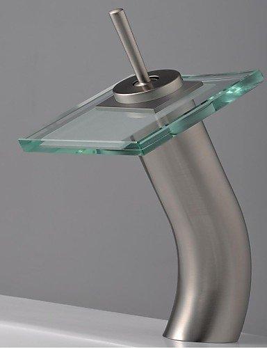 BL@ nichel spazzolato bagno lavello con rubinetto cascata di vetro