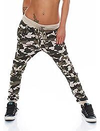 5910 Fashion4Young Damen Haremshose Hose Baggy Boyfriend Freizeithose Jogginghose Sporthose pants