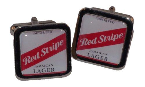 Manschettenknöpfe aus Metall rot gestreift (Red Bier Stripe)