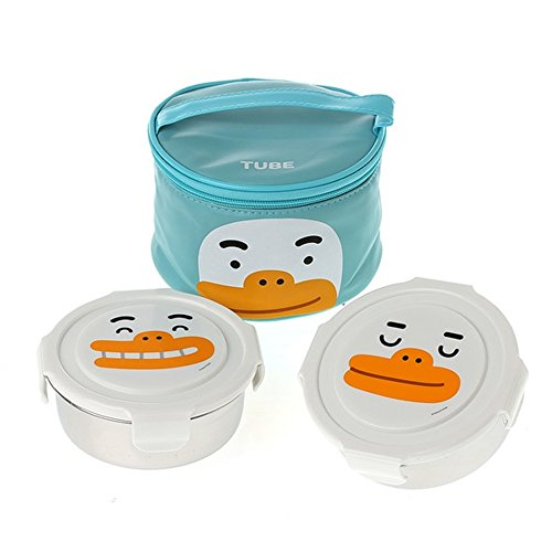 Kakao Friends - Cute Character Rund 304 Edelstahl 2-Stufen-Lunch-Box (Tube) White & Sky-Baby-Kleinkind-und Kleinkind Mealtime Bento Lunch Box Kit mit Tasche Set Rohr (White & Sky Blue) (Lunch-boxen Kleinkinder Für)