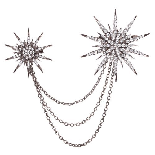 Yazilind Jewellery Vintage Light Black Flower Crystal Alloy Brooches and Pins Gothic for Women Gift Idea