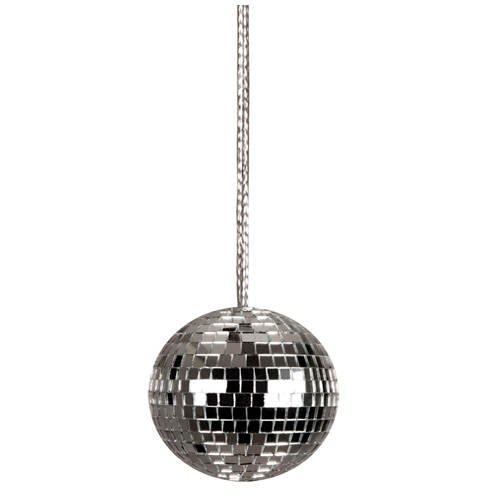 Kette Discokugel an silberner Kordel, 4cm, 1 (Kinder Outfits Disco)